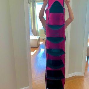 Pink & Black Cotton Fabric Closet Organizer